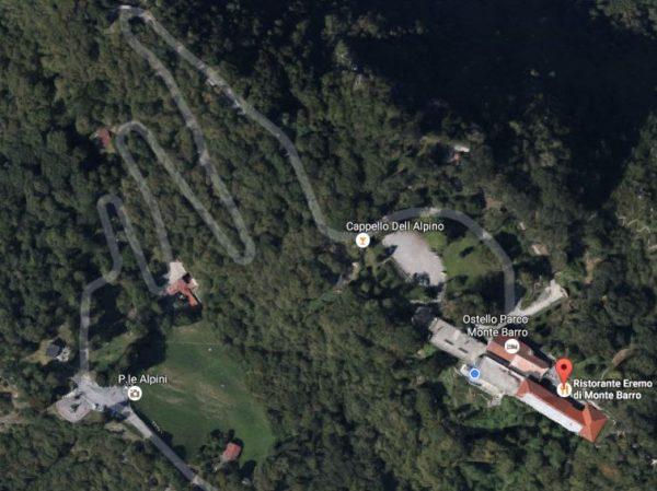 Carta di Google Map per raggiungere il ristorante eremo monte barro